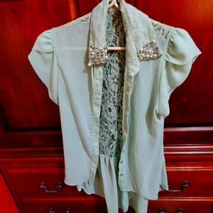 Mint green sheer high low blouse